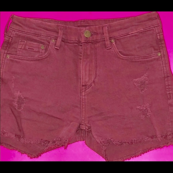 cfcf193d7 H&M Shorts | Hm Distressed Maroon Denim Cutoffs | Poshmark